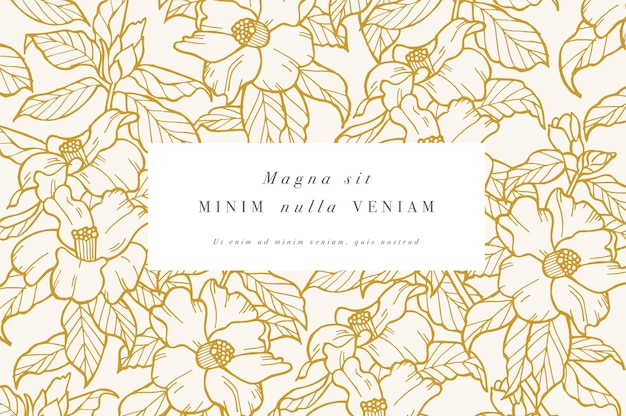 Vintage kaart met camelia bloemen bloemen krans bloem frame voor bloemenwinkel met label ontwerpen zomer...