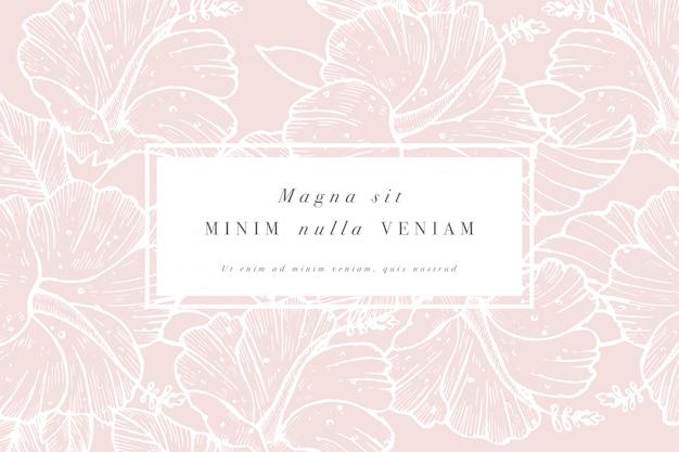 Vintage kaart met hibiscus bloemen. bloemen krans. bloemenlijst voor bloemenwinkel met labelontwerpen. zomer bloemen roos wenskaart. bloemen achtergrond voor cosmetica verpakking.