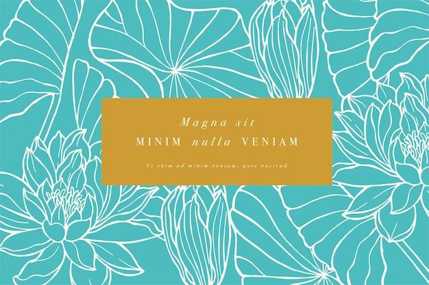 Vintage kaart met lotusbloemen. bloemen krans. bloemkader voor bloemenwinkel met etiket