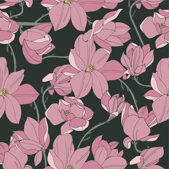 Vintage kaart met magnolia bloemen