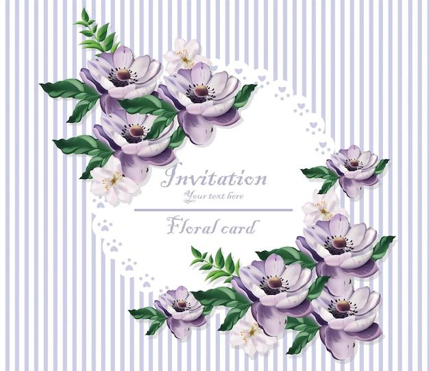 Vintage kaart mooie paarse bloemen. bloemmotief achtergronden
