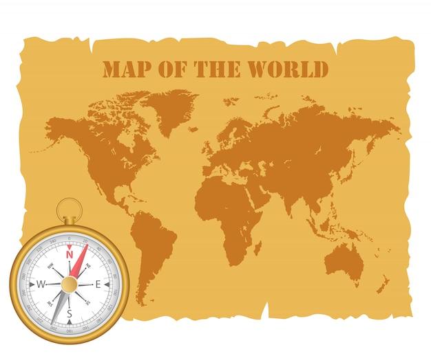 Vintage kaart van de wereld en magnetisch kompas. illustratie.
