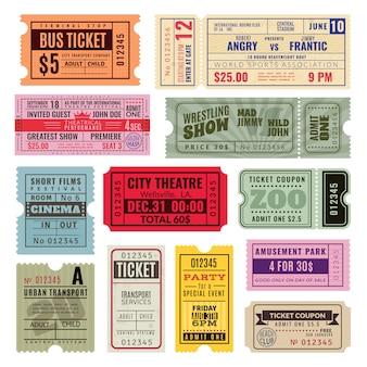 Vintage kaartjes. handticket voor circus, bioscoop en concertfeest. voucher van oud papier, reizende coupon van de loterij. sjablonen