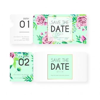 Vintage kaartjes voor bruiloft uitnodiging