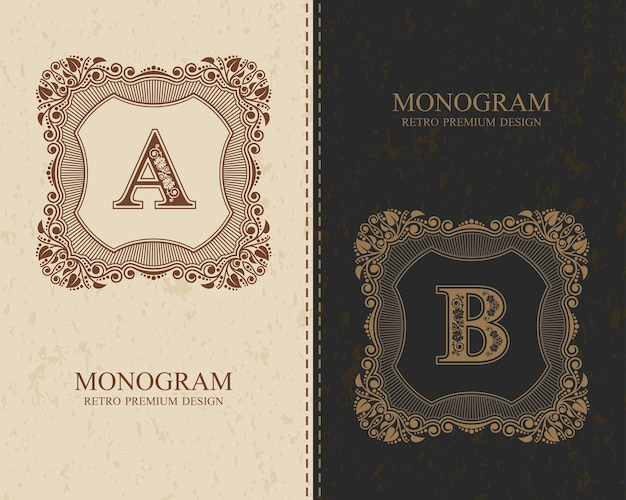 Vintage kalligrafische monogram letters a, b, letters van het alfabet, abc-concepttype als logo