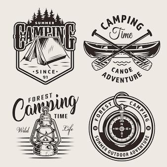 Vintage kampeerlogo's voor buiten