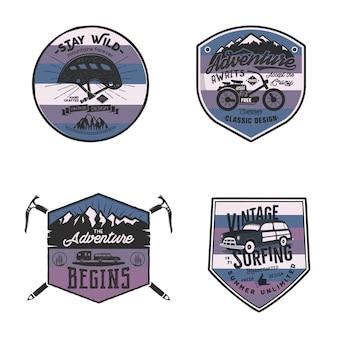 Vintage kamplogo's, bergbadges instellen.