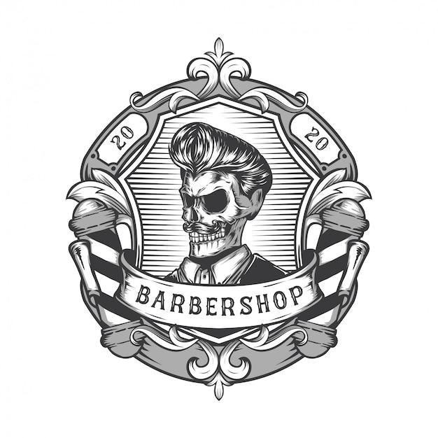 Vintage kapper winkel logo ontwerp