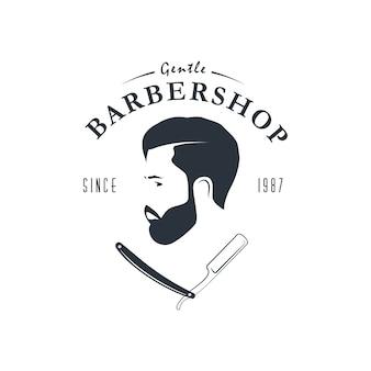 Vintage kapper winkel logo