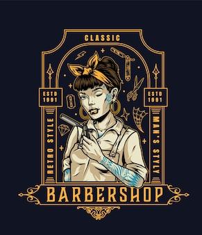 Vintage kapperszaak logo met mooie knipogende vrouwelijke kapper met scheermes en tatoeages op donkere achtergrond geïsoleerde vectorillustratie