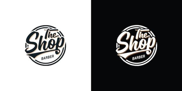 Vintage kapperszaak logo premium vector