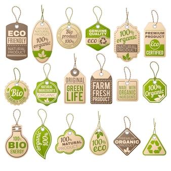 Vintage kartonnen eco prijskaartjes. winkel biologische bio-boerderij vector papieren etiketten. verkoop eco-tag, papier biologische label kartonnen illustratie