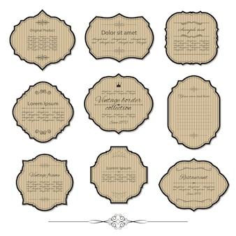 Vintage kartonnen frame en label set met voorbeeldtekst.