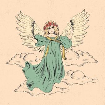 Vintage kerst engel Gratis Vector