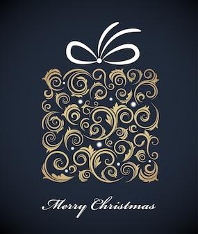 Vintage kerst geschenkdoos met een retro gouden ornamenten. illustratie
