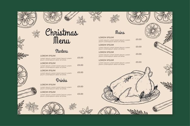 Vintage kerst horizontale menusjabloon