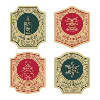 Vintage kerst label collectie