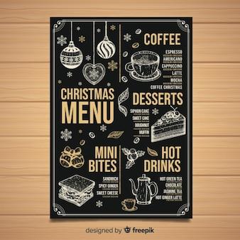 Vintage Kerst menusjabloon