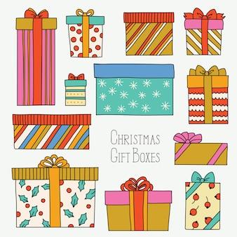 Vintage kerst of verjaardag set met geschenkdozen