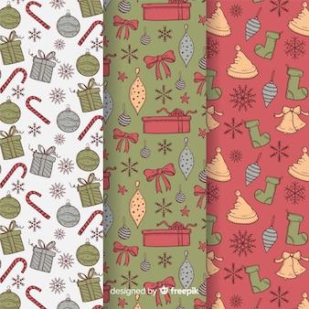 Vintage kerst patroon met cadeautjes