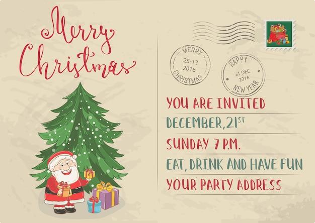 Vintage kerst uitnodiging ansichtkaart met stempel en poststempel