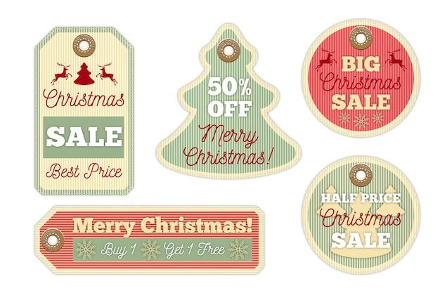 Vintage kerst verkoop tag-collectie Gratis Vector