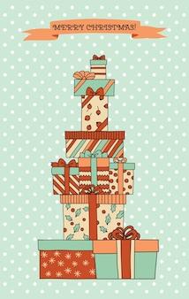 Vintage kerstberg met geschenkdozen