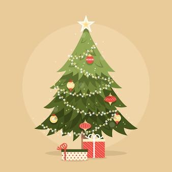 Vintage kerstboom illustratie met cadeautjes