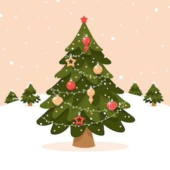 Vintage kerstboom illustratie