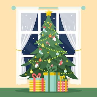 Vintage kerstboom met geschenken
