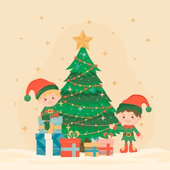 Vintage kerstboom traditie