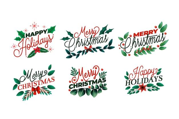 Vintage kerstetiketten instellen