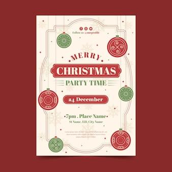 Vintage kerstfeest poster sjabloon