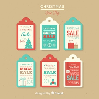Vintage kerstmis verkoop label collectie