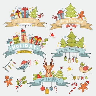 Vintage kerstset met lintbanners met rendieren, vogels, geschenkdozen, bomen en andere vakantie-elementen. kan worden gebruikt voor uitnodigingen, decoratiefeesten. vector illustratie