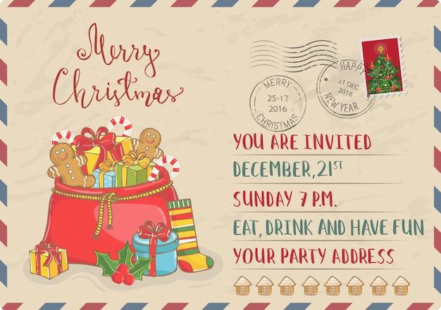 Vintage kerstuitnodiging met postzegels