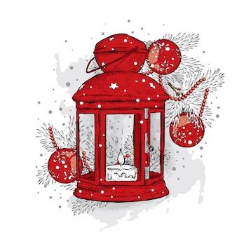 Vintage kerstverlichting en kerstboom met ballen. illustratie voor een kaart of poster. nieuwjaar en kerstmis. winter. mooi licht.