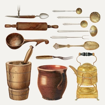 Vintage keukengerei vectorillustratie, geremixt uit openbare domeincollectie