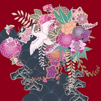 Vintage kimono bloemenmotief