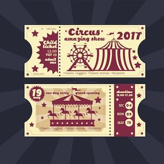 Vintage kinderkostuum feest uitnodiging. retro circus carnaval ticket vector sjabloon
