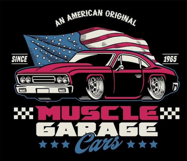 Vintage klassiek ontwerp van amerikaanse muscle car