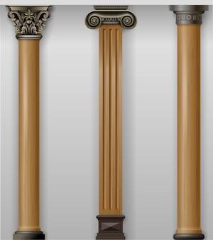 Vintage klassieke hout gesneden kolommen op de muur instellen