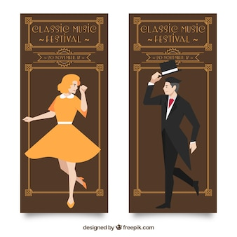 Vintage klassieke muziek banners met man en vrouw illustratie