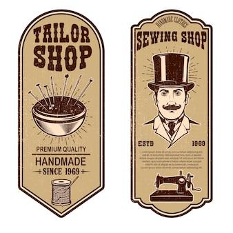 Vintage kleermaker winkel flyer sjablonen
