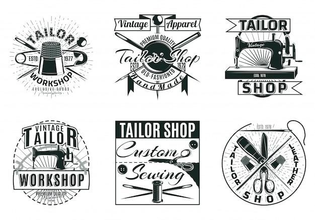 Vintage kleermaker workshop etiketten instellen