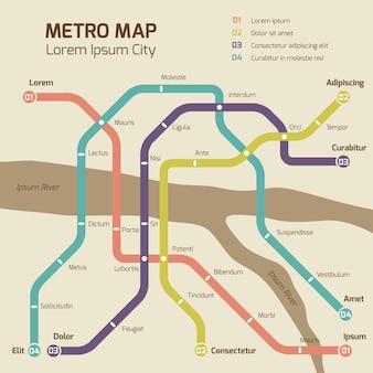 Vintage kleuren metro kaart vector concept