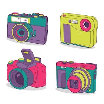 Vintage kleurrijke camera collectie