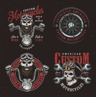 Vintage kleurrijke custom motorfiets badges
