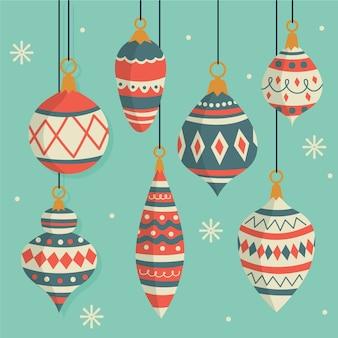 Vintage kleurrijke kerstballen