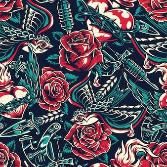 Vintage kleurrijke tatoeages naadloze patroon